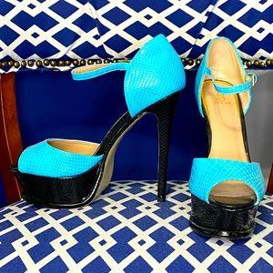 Turquoise black ankle strap platform open peep toe heels by Scene